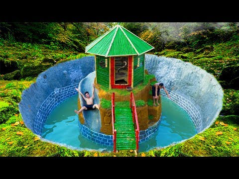 Build Swimming Pool Water Slide Around Secret Bamboo House - Primitive Survival (full)