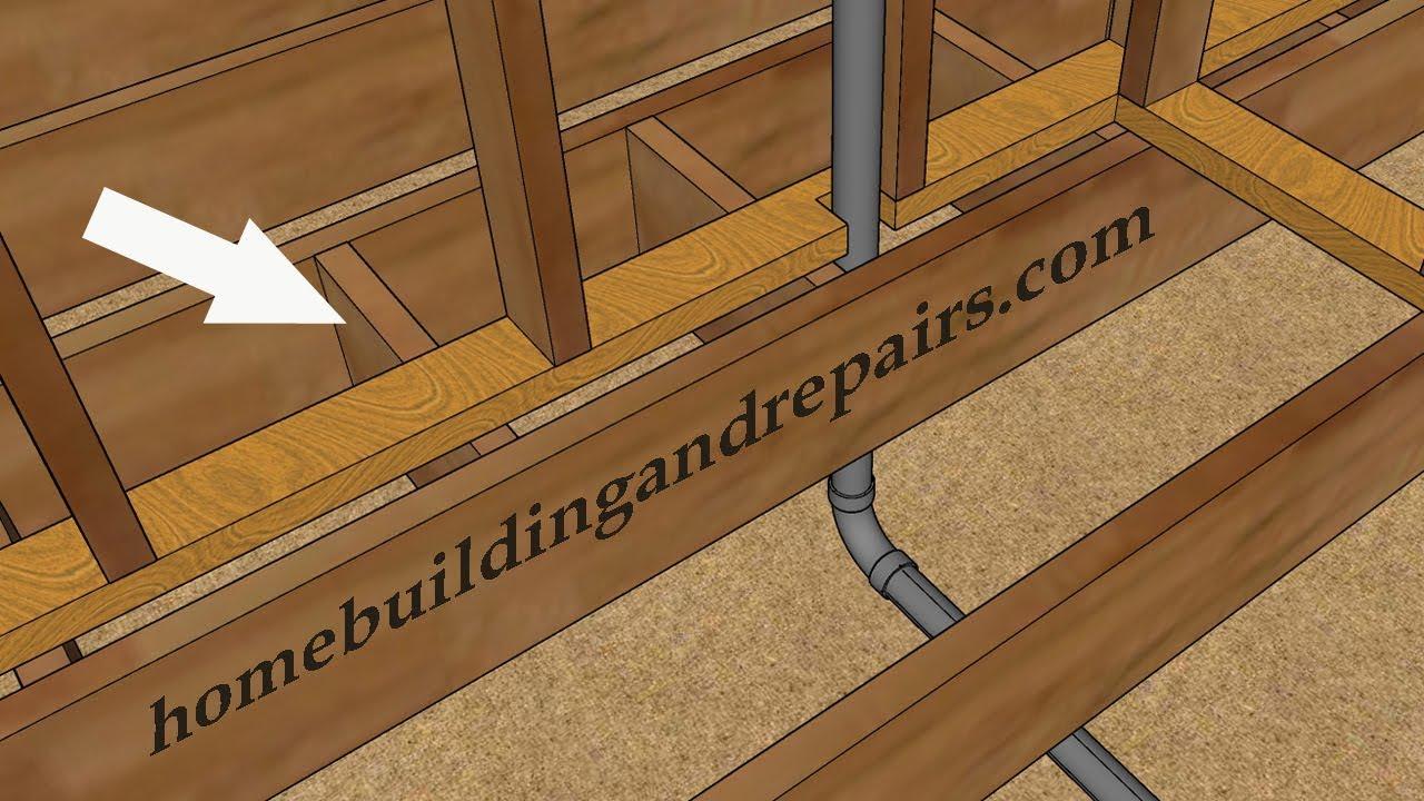 Blocking Between Floor Joist Can Keep Plumbing In Walls Just