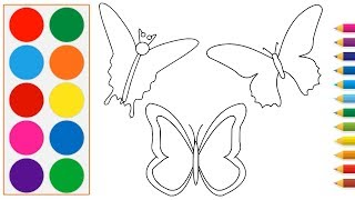 Drawing And Coloring Three Butterfly For Kids Toddlers  Learn Colors