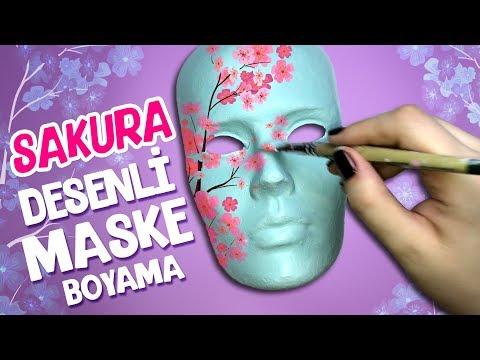 Sakura Desenli Maske Boyama Ev Dekorasyon Youtube