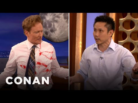 Steven Ho Teaches Conan Defense Against Guns & Knives - CONA