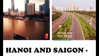 Vietnam modernization Dec 2015 - Hanoi and Saigon skyline economy mashup