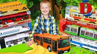 Троллейбус Трамвай Автобус Поезд транспорт для детей игрушки машинки обзор игрушек toy trolleybus