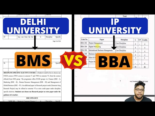 BBA vs BMS Comparison|Difference between IP University BBA and Delhi university BMS