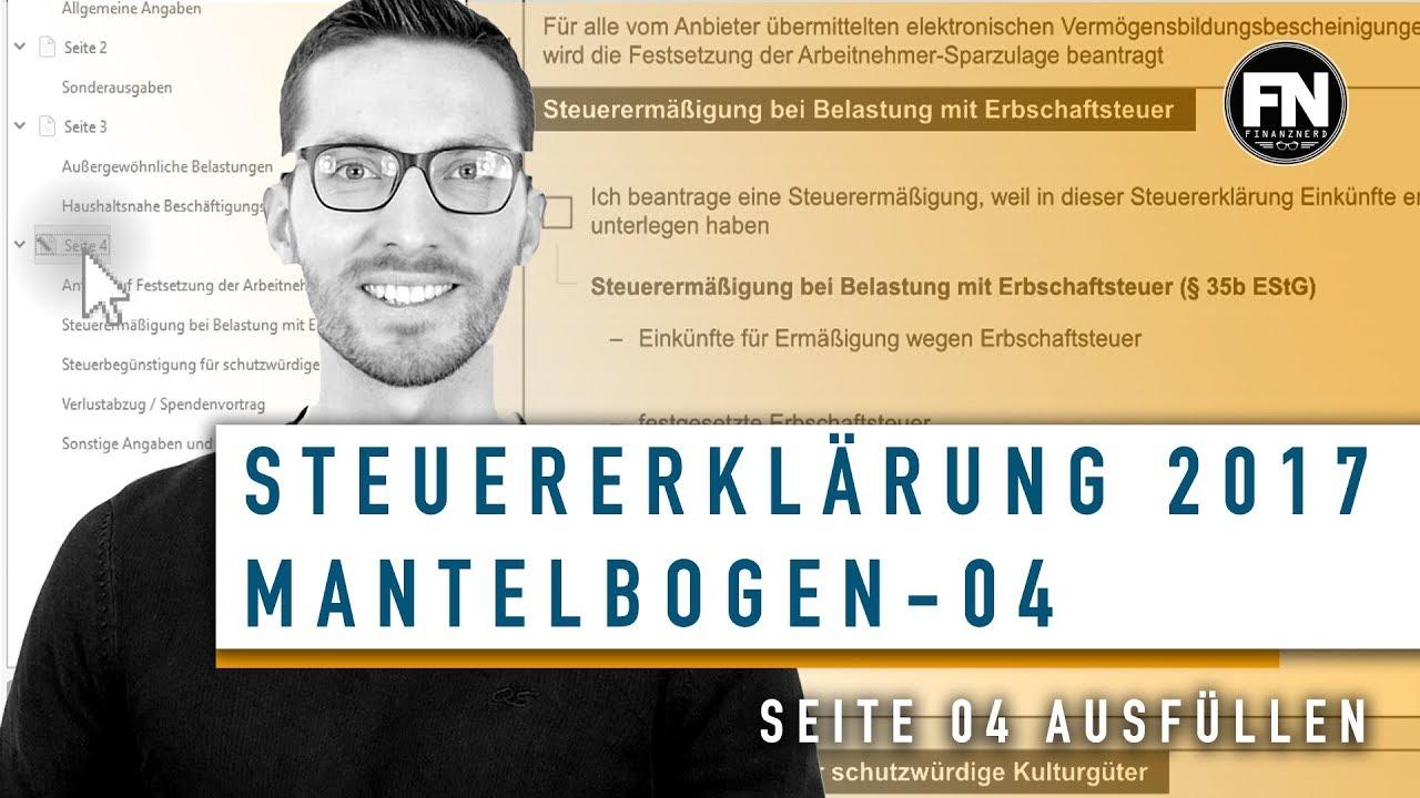 Mantelbogen 2017 Ausfullen Steuererklarung Mantelbogen 2017 Ausfullen Mantelbogen Seite 4 Youtube