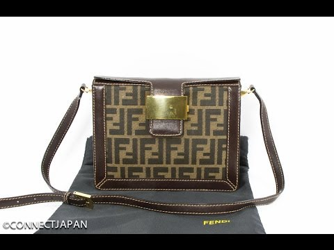 8102494c2f AUTHENTIC FENDI ZUCCA FF LOGO NYLON GOLD TONE SHOULDER BAG PURSE ITALY