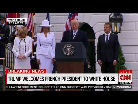 Macron Rests Hand On Trump's Arm After Trump Mentions Hero French Policeman