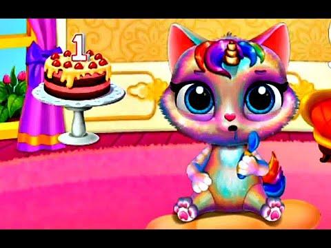 Ухаживаем за котенком единорогом #1 Мой маленький #котенок #мультик #игра  #единорог  Ура! Мультики!