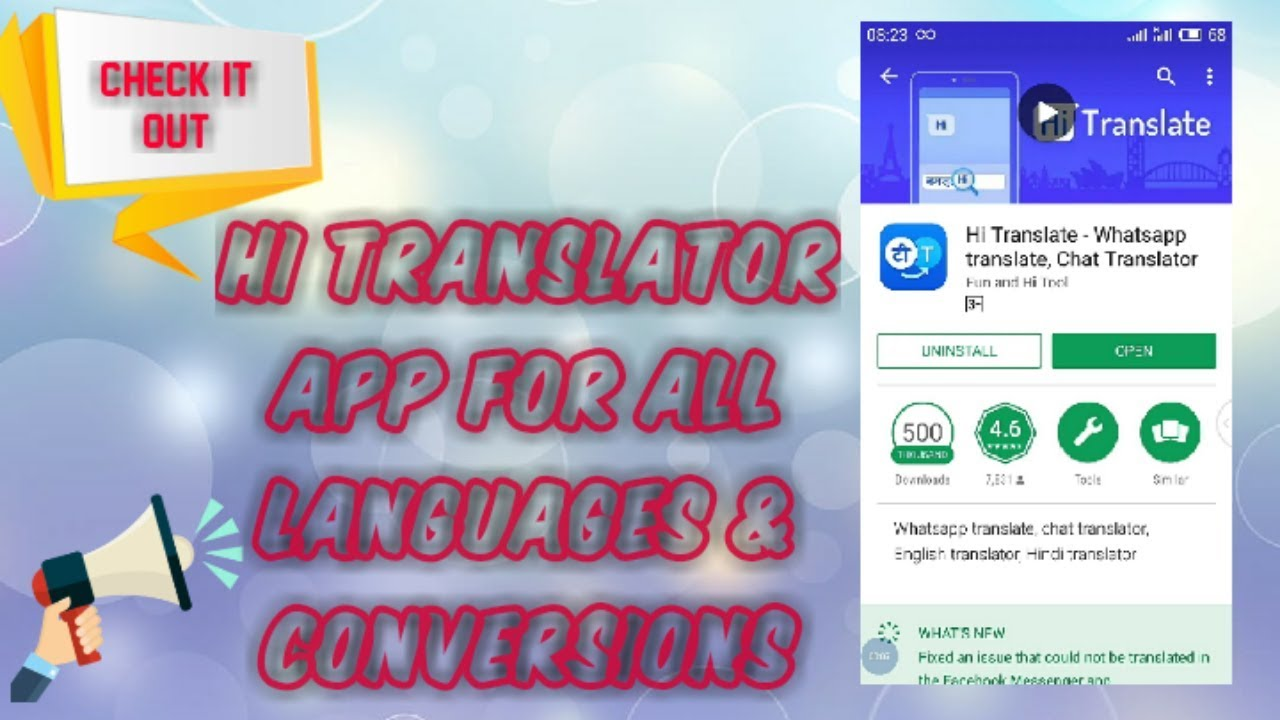 Multi languages Hi Translate app for Whatsapp & other websites