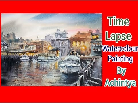Watercolour painting time lapse by Achintya