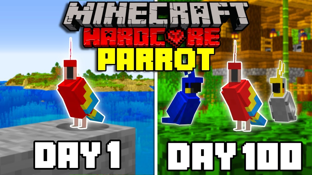 Download I Survived 100 Days as a PARROT in Hardcore Minecraft... Minecraft Hardcore 100 Days