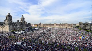 Informe de actividades a un año del triunfo electoral, desde el Zócalo de la Ciudad de México