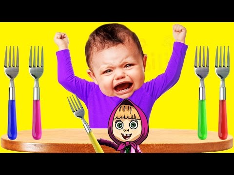 Thumbnail: Crying Bad Baby Masha Forks Colorfull Colors Learn Finger Family Collection