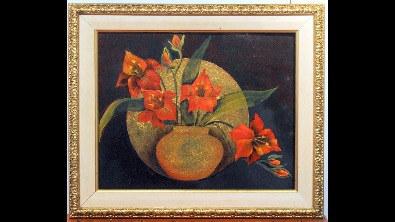 Pintar en oleo sobre base de color oro cuadro jarron con - Fotos jarrones con flores ...