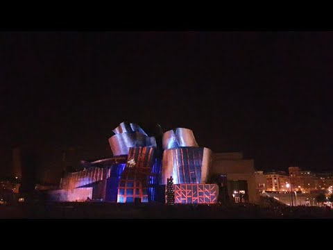 Guggenheim Bilbao 20th anniversary light show