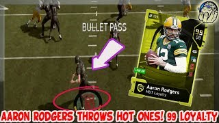 AAron Rodgers Throws HOT ONES! 99 ThrowPower! 99 Loyalty Aaron Rodgers Gameplay! | MUT 19