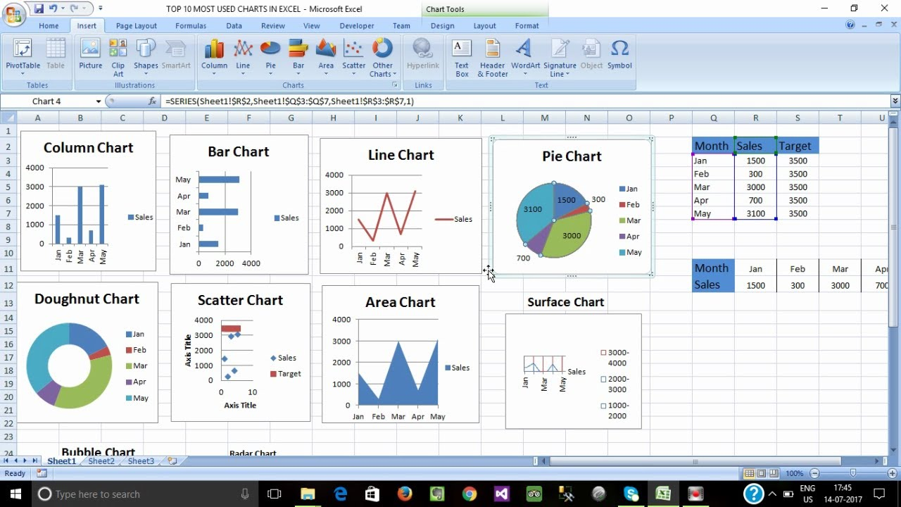 Top 10 Charts In Excel Tamil Frequently Using Charts