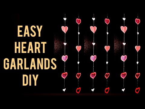 How to make paper wall hanging| heart garland | Paper heart garlands | Paper heart