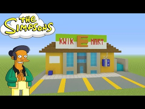 """Minecraft Tutorial: How To Make The Kwik-e-Mart From """"The Simpsons"""" Survival House"""