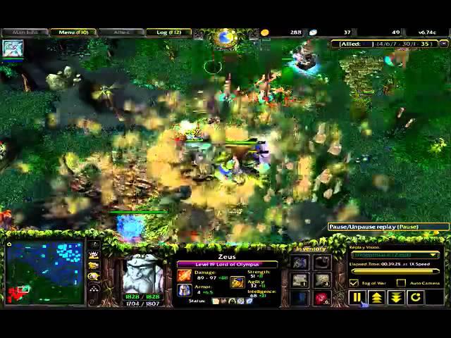 Dota 6.74c: Zeus gameplay
