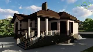 Франк B-237. Проект одноэтажного дома с цокольным этажом, на 2 спальни, с террасой