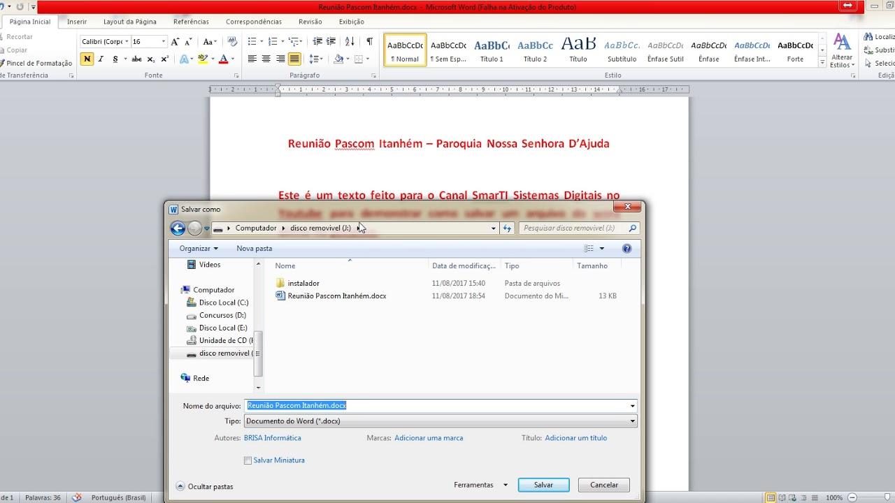como salvar um arquivo do microsoft word direto no