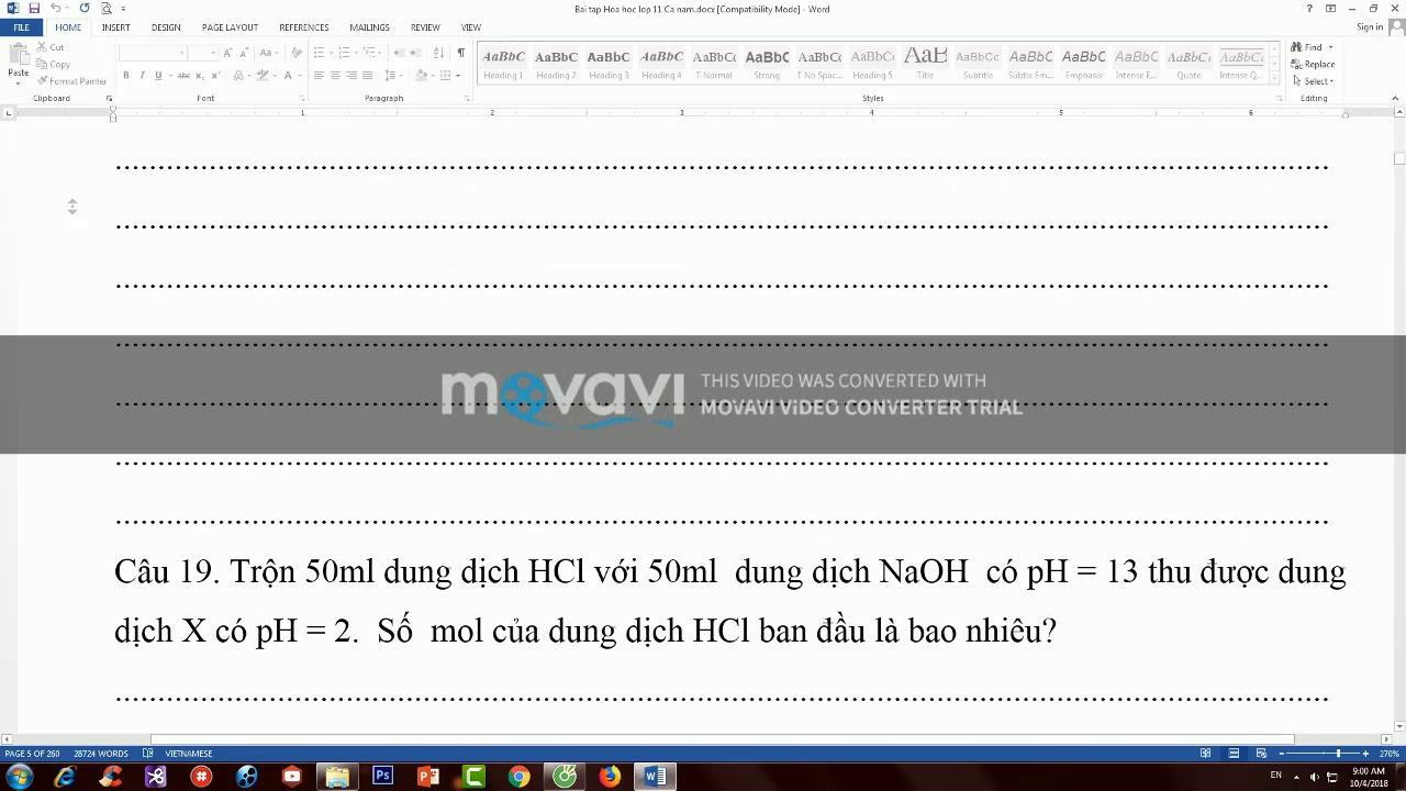 Dạng bài tập cho số PH yêu cầu tính số mol