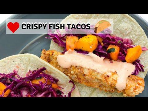 CRISPY FISH TACOS w/Chipotle Cremal Cod Tacos l Easy Taco Recipe l Mango Slaw l Noor Sarieh
