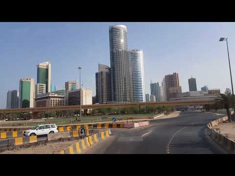 Traveling in Kuwait City in a citybus double decker bus.