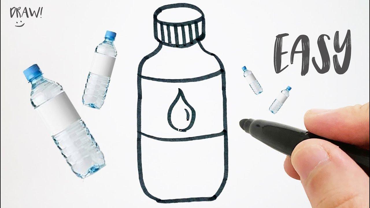 How To Draw A Water Bottle Step By Step Easy Drawing Youtube
