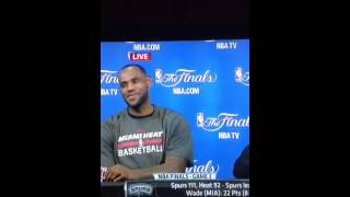 LeBron James laughs at reporter's question after loss to Spurs (2014 NBA Finals game 3)