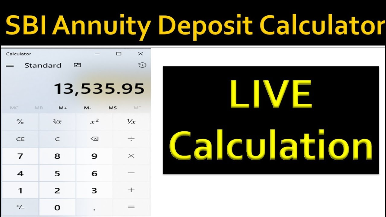 Sbi Annuity Deposit Scheme Calculator For Monthly Pension Payout Youtube