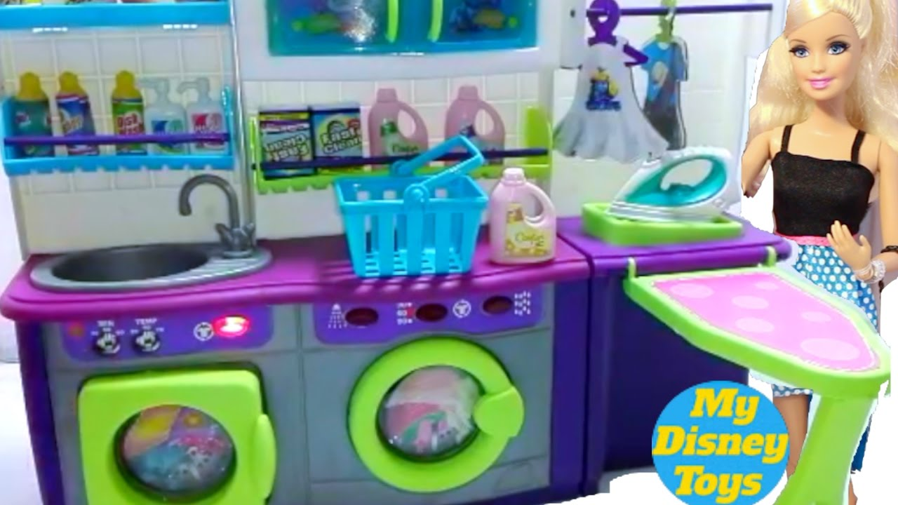 Barbie Doll playing washing machine laundry cleaner toys for kids ...