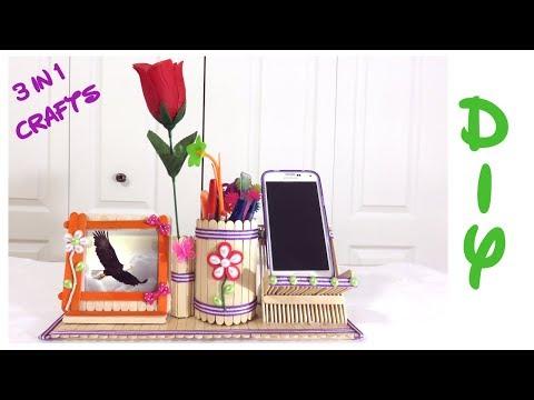 DIY Desk Organizer   Popsicle sticks 3 in 1 Crafts   Popsicle Sticks pen holder & Mobile Phone stand