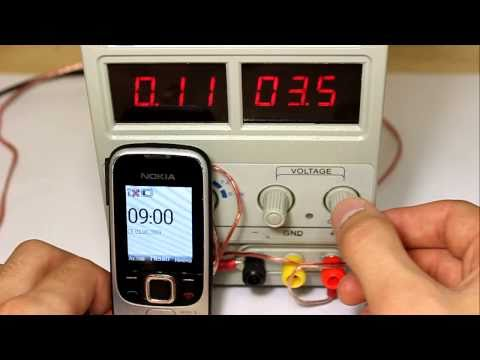 Nokia 2330. Тест на превышение напряжения зарядки