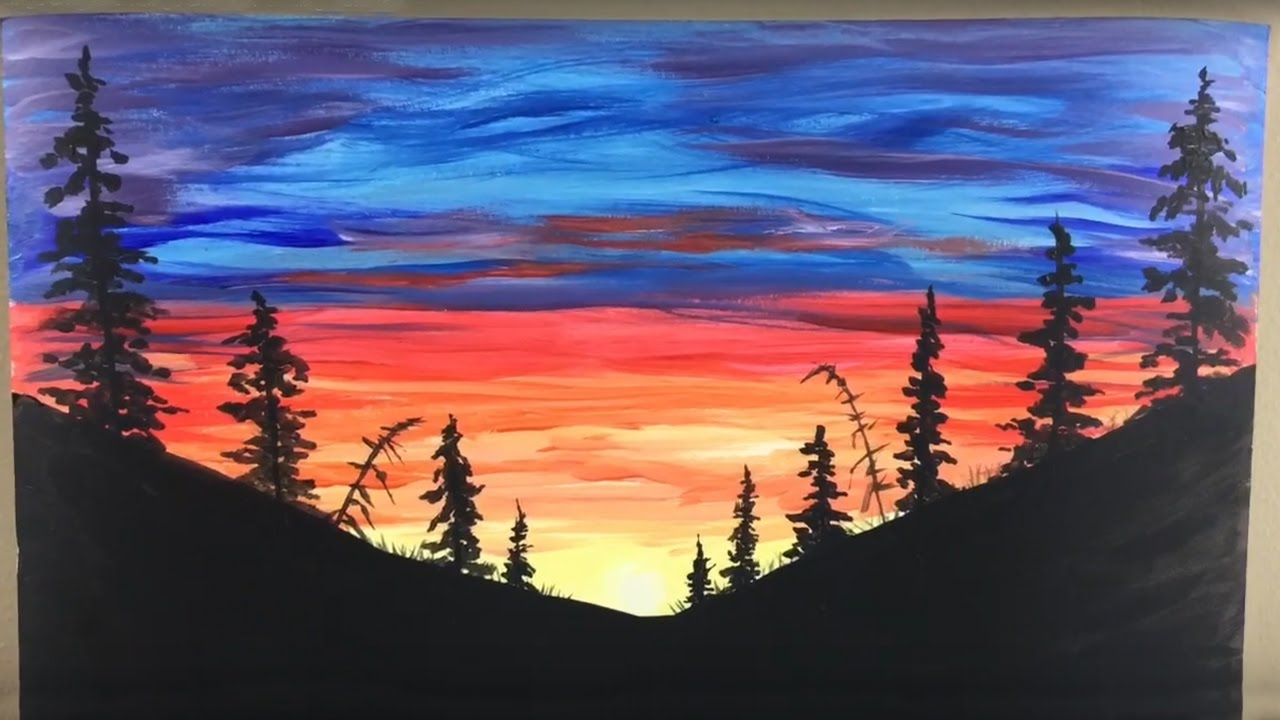 Amazing Silhouette Sunset Painting Tutorial - By Artist Andrea ... | title | sunset painting