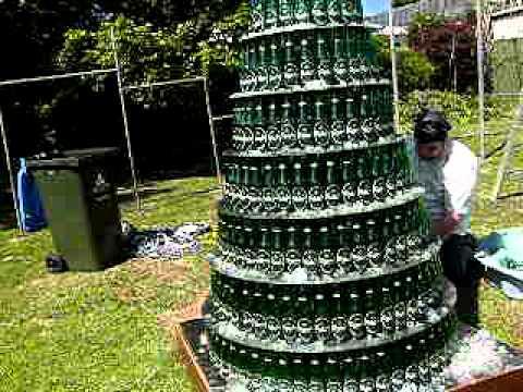 Beer bottle christmas tree 2010 version 3 0 youtube for How to make a beer bottle christmas tree