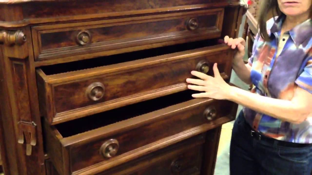 Antique furniture Renaissance revival drawer chest with