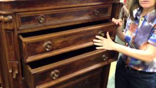 Antique Furniture, Renaissance Revival Drawer Chest With Rare Side Lock In Our Antiques Mall.