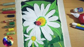 Cara menggambar bunga chamomile dan kumbang koksi, Easy drawing with Oil Pastel