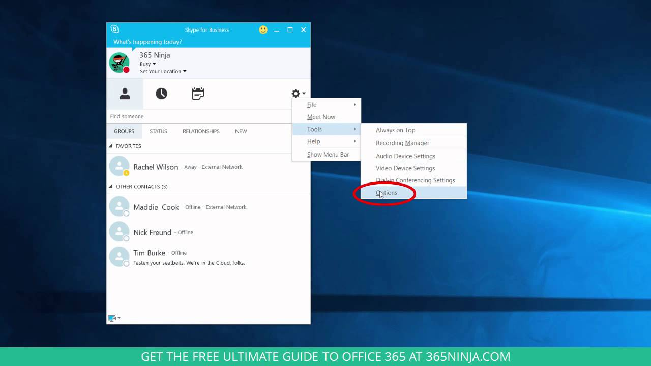 How to Change Presence Status in Skype for Business