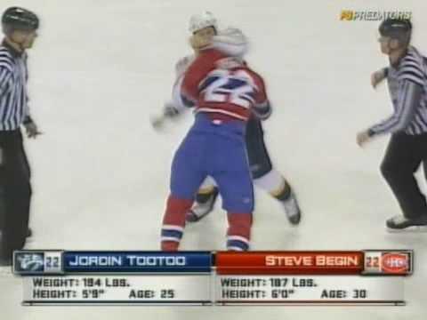 Jordin Tootoo vs Steve Begin Jan 15, 2009