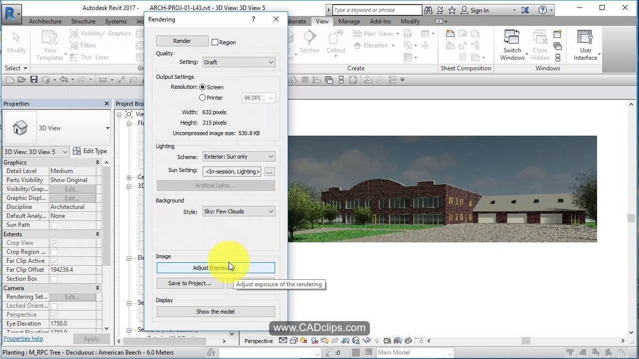 Revit architectural project 45 exterior rendering youtube - Revit exterior rendering settings ...