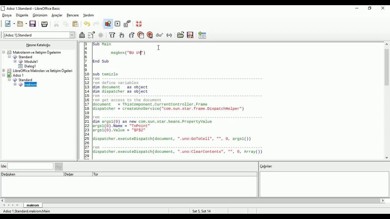 LibreOffice Calc Üzerinde Makro Kaydetme ve Makro Oluşturma @sadikemrah