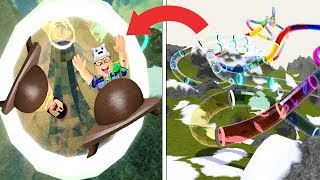 ROBLOX: OLD MAN AND AUNT GRACE DESCEND ON THE RADICAL MEGA SLIDE IN THE SNOW! (The Snow Resort)
