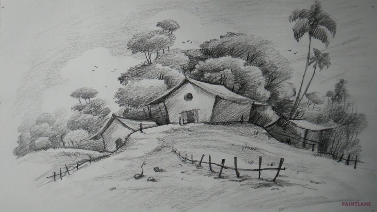 how to draw easy and simple landscape for beginners with pencil rh youtube com
