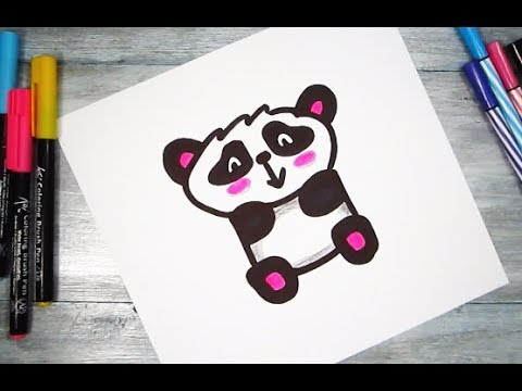How to turn Letter 'P' into a Cartoon CUTE PANDA ! Fun with Alphabets Drawing for kids
