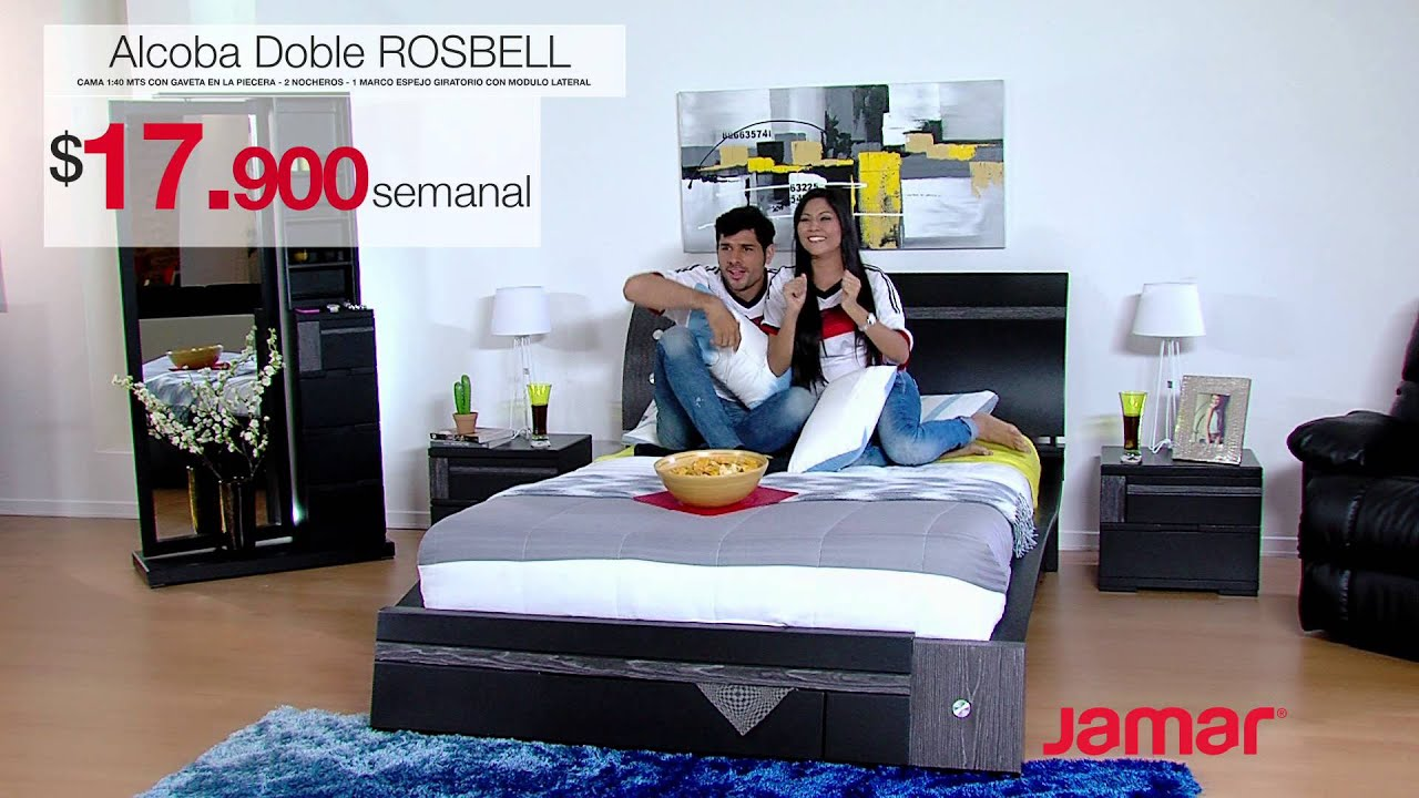 Muebles jamar alcoba doble rosbell 2014 youtube for Muebles namar