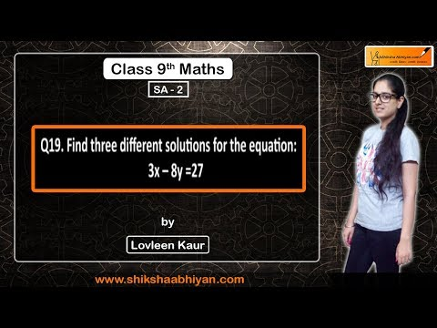 Q19 Find Three Different Solutions Of The Equation 3x- 8y= 27