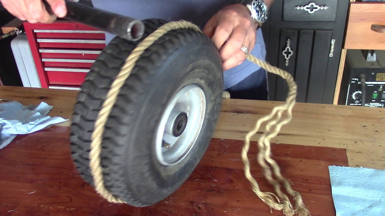How to take a lawn mower tire off the rim